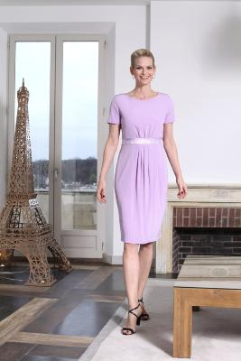 Robe SONG en crêpe stretch Logan mauve