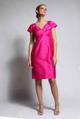 Robe Couture Habillee Tenue Pour Cocktail En Soie Fuchsia