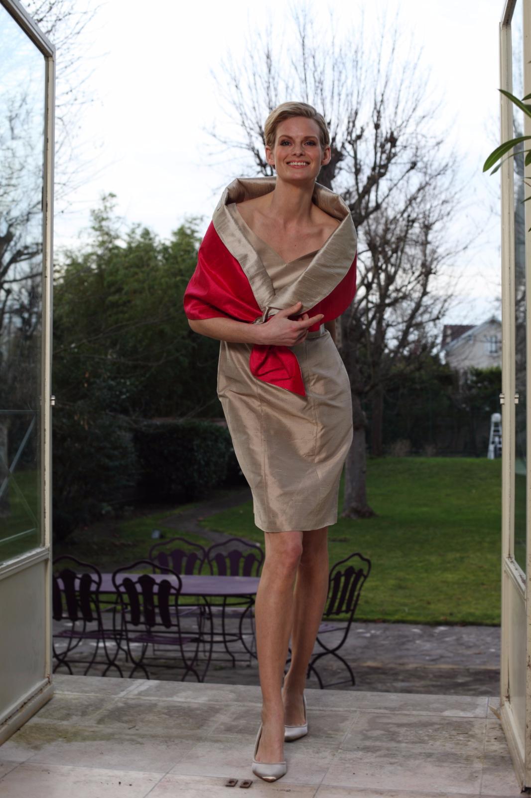 et robe lisbon en soie et etole reversible bicolore - Etole Mariage Soie