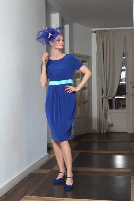 Robe SONG bicolore de cérémonie bleue intemporelle